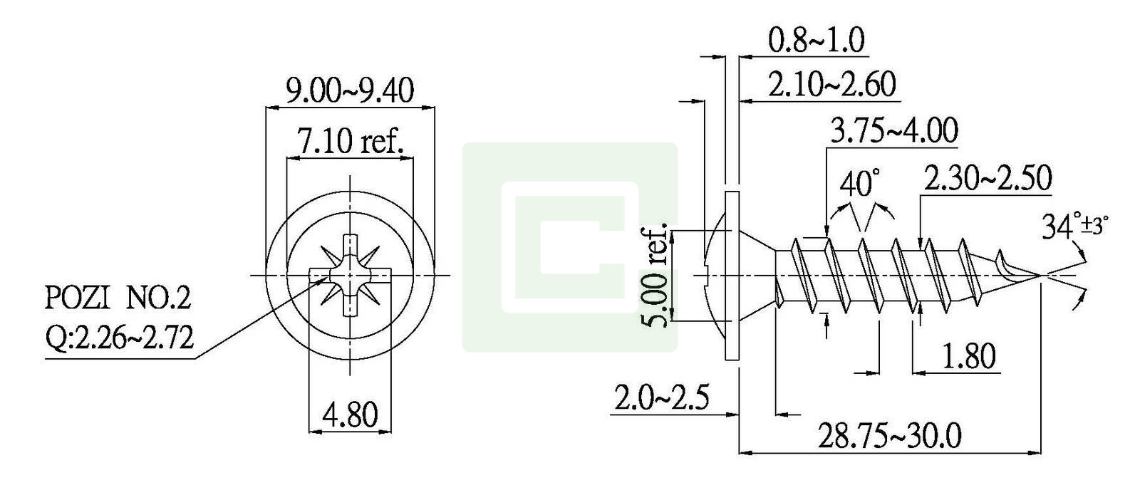 chipboard screw - cs-pwz40-40030. chipboard screw
